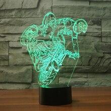 Home Decor 3D ПРИВЕЛИ детей Спальня мотоцикл литья 7 цветов Настольная лампа сенсорный выключатель атмосферу настроение освещения подарки ночные огни