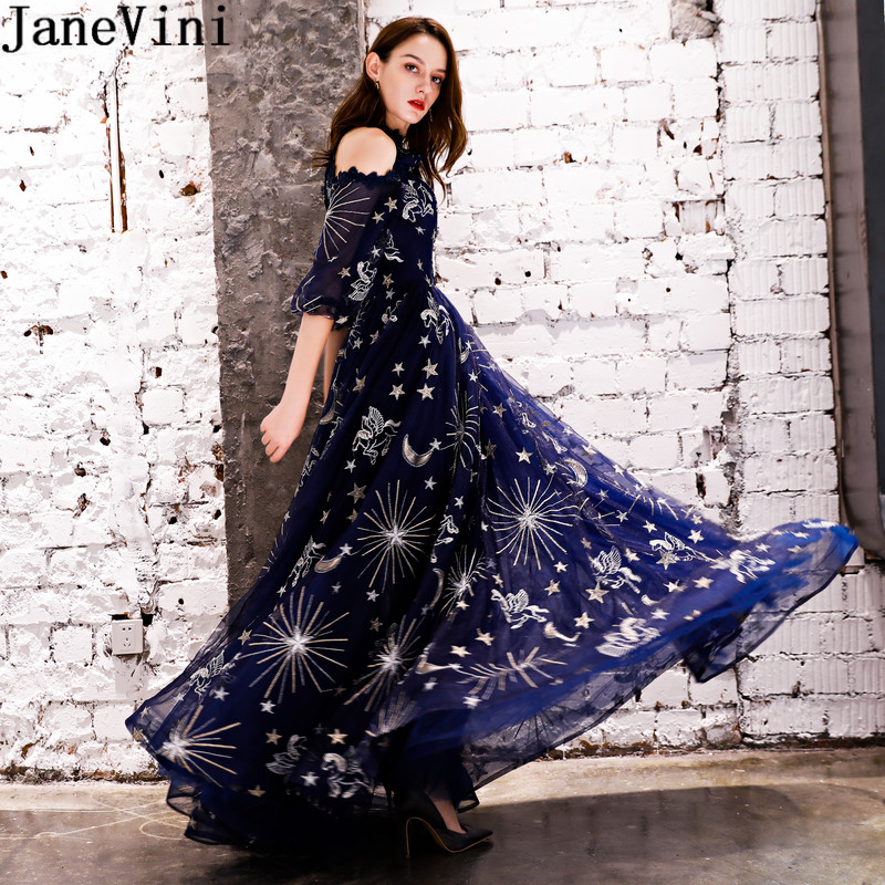 JaneVini Gorgeous Navy Blue Starry sky Prom Party   Dress   for Weddings With Sleeves A Line   Bridesmaid     Dresses   Long Formal Dinner