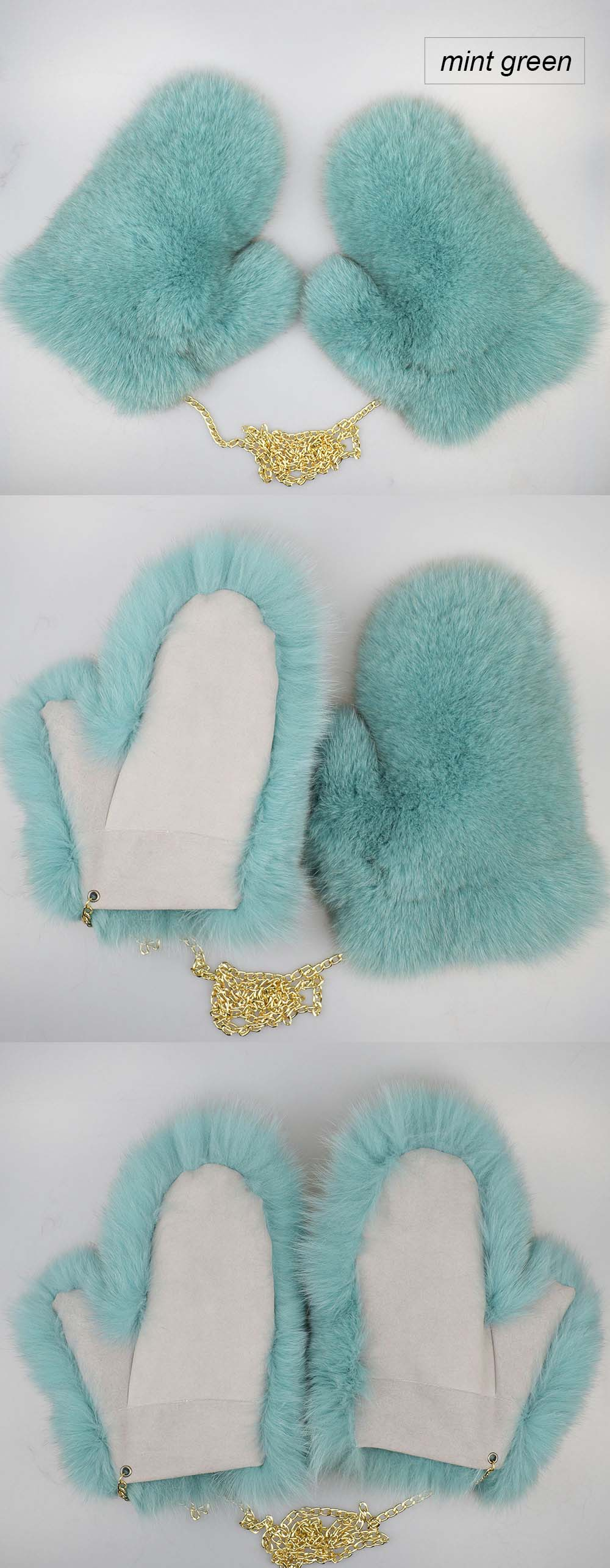 fox fur gloves color mint green