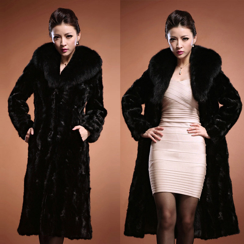 XXXL Winter Womens Outerwear Long Sleeve Maxi Faux Fur Coat Long