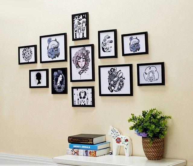 11 Pc Kayu Pinus Padat Hitam Campuran Banyak Gambar Bingkai Foto Set Diy Hiasan Dinding Kertas Al