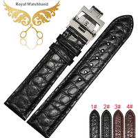 時計バンド18 19 20 21 22mm黒100%の本物のワニ革の皮膚ウォッチストラップバンド展開ウォッチブレスレットバックルクラス