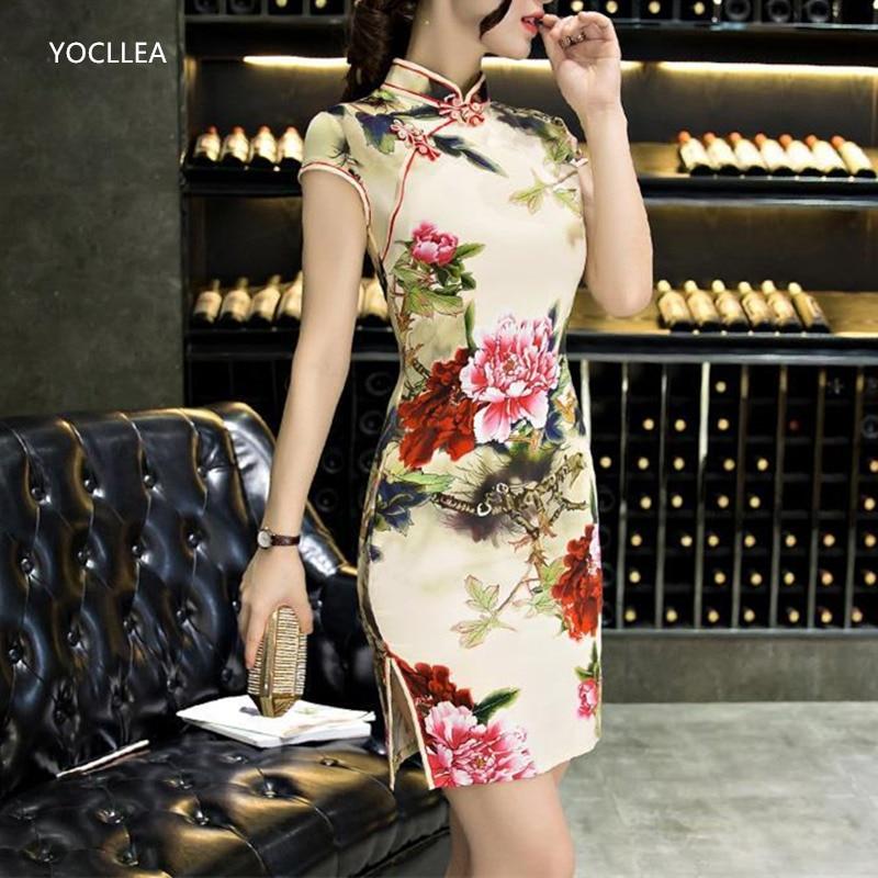 Silk Qipao Short Summer Dress Women Traditional Chinese Clothing Sexy Fashion Cheongsams Elegant Party Dresses Vestidos