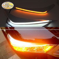 For Toyota Highlander 2012 2013 2014, LED Headlight Brow Eyebrow Daytime Running Light DRL With Yellow Turn signal Light