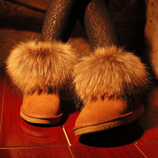 ФОТО New 2013 Oversized Fox Fur Boots Women Sheepskin Leather Snow Boots Ladies Waterproof Resistant Slip Warm Shoes Winter H1686