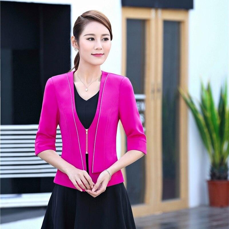 Spring Summer Formal Ladies Rose red Blazer Women Jackets Half Sleeve Office Uniform Design Business Clothes