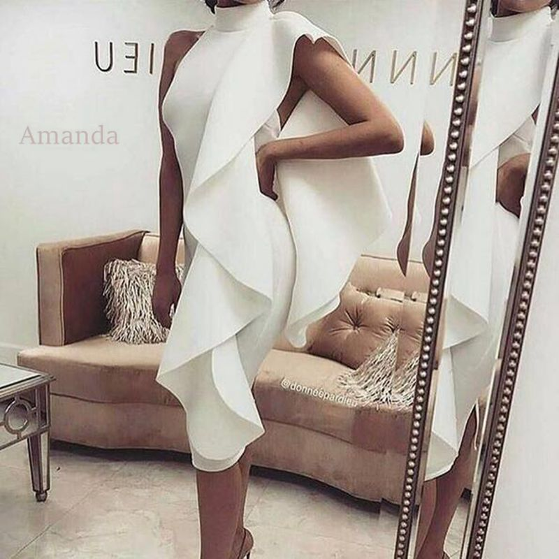Women Winter Off Shoulder Midi Dress 2017 Elegant White Ruffle Womens Party Night Club Wear Dress Gown Briefs Sexy Backless Slit