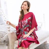 2019 Summer Women 100% Real Silk Nightgown Night Dress Sleepwear For Ladies Loose Print Half Sleeves Nightwear Homewear