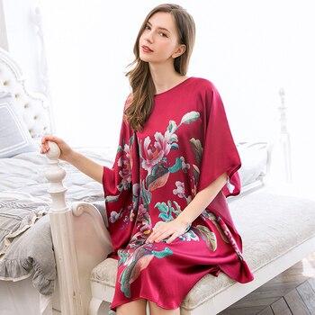 Summer Women 100% Real Silk Nightgown Night Dress Sleepwear For Ladies Loose Print Half Sleeves Nightwear Women Homewear