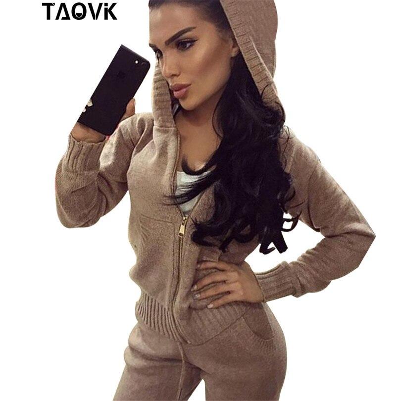 TAOVK женщины вязать набор карманов на молнии с капюшоном спортивный костюм со свитером женщина из двух частей Oversize Теплые трикотажные издели...