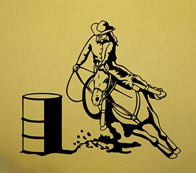 Yingkai Barrel Racer Female Sports Riding Cowboy Girlsroom Horse Trailer Vinyl Carving Wall Decal Sticker For