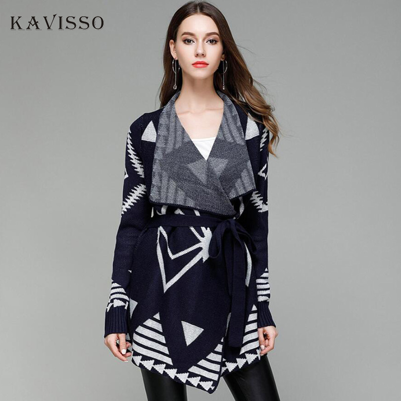 KAVISSO New Women Cardigan Autumn Long Sleeve Irregular Long Female Belt Sweater Loose Ladies Blue Poncho Coat Elegant Outerwear