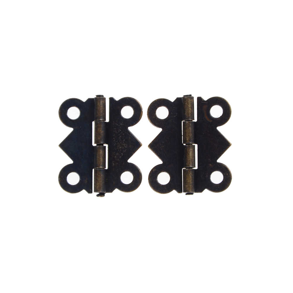 12pcs Mini Butterfly Style Hinges For Dolls Houses Jewelry Box -  Bronze W/srew 20x17mm
