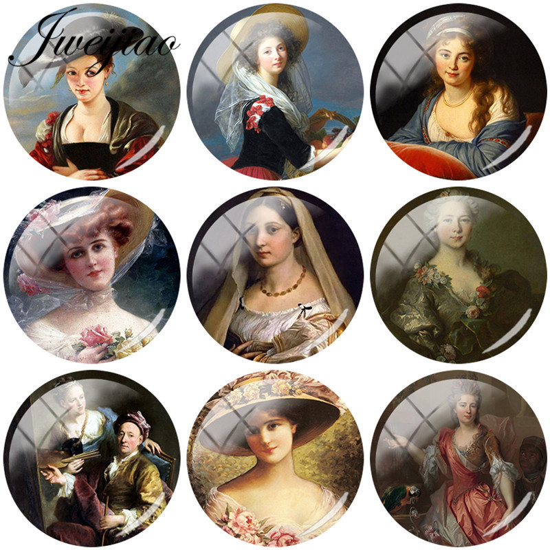 JWEIJIAO 5pcs Glass Cabochon Vintage French Woman Art Picture Glass Dome Beads DIY Cuatom Earrings Keychain Necklace Accessories(China)