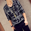 Camiseta para hombre de Marca Famosos 2016 Hitz Versión Coreana De La Moda Casual de Los Hombres Tocando Fondo A Cuadros Con Cuello En V Larga Camiseta Masculino camisa