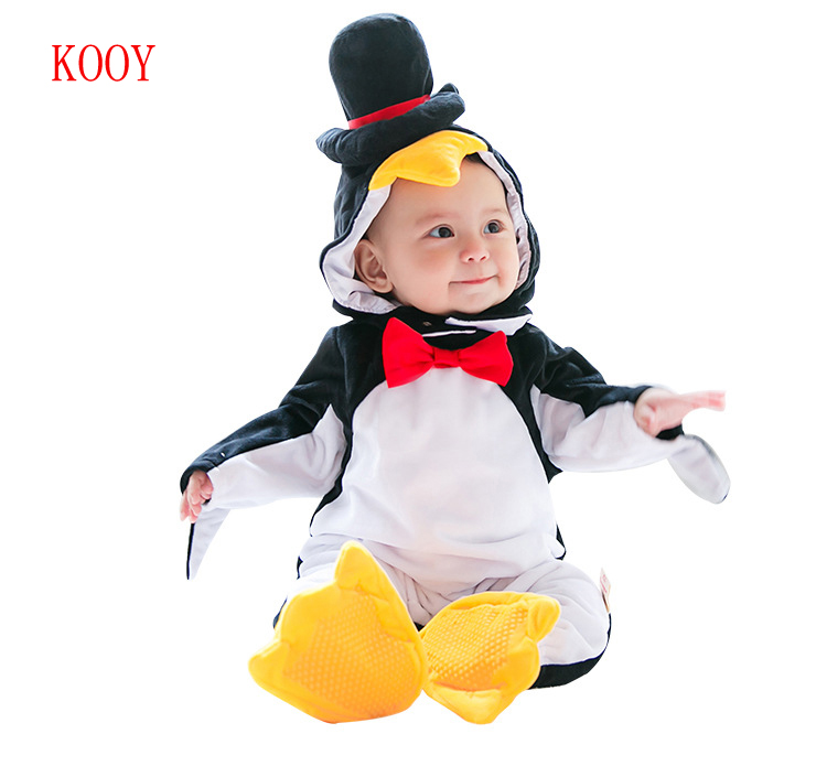 Winter Baby penguin Costumes Clothes Breathable Hooded Rompers