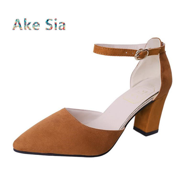 Sandalia Feminina 2019 summer new Wild High-heeled shoes pointed Word buckle sandals Rough with Women Single shoes  s0010-1