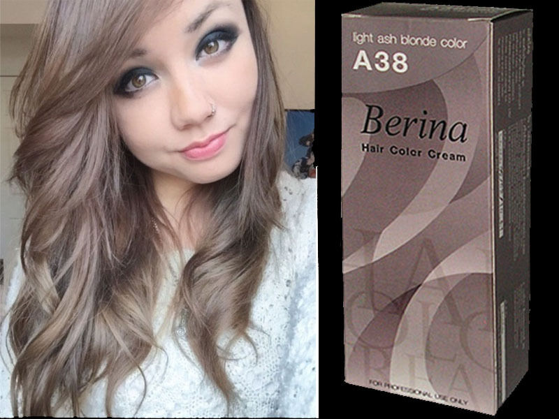 BERINA PROFESSIONALS Hair Color Cream - Permanent Hair Dye Color - A38: Light Ash Blonde Color Free Shipping