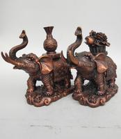 China seiko carving Pure brass elephant wealth statue A pair