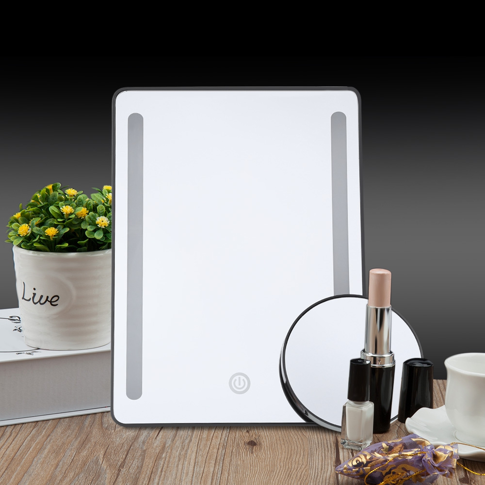 Fashion Portable Table Led Lights Cosmetic Mirrors With 10x Magnifier Can Stand Table Makeup they do it with mirrors