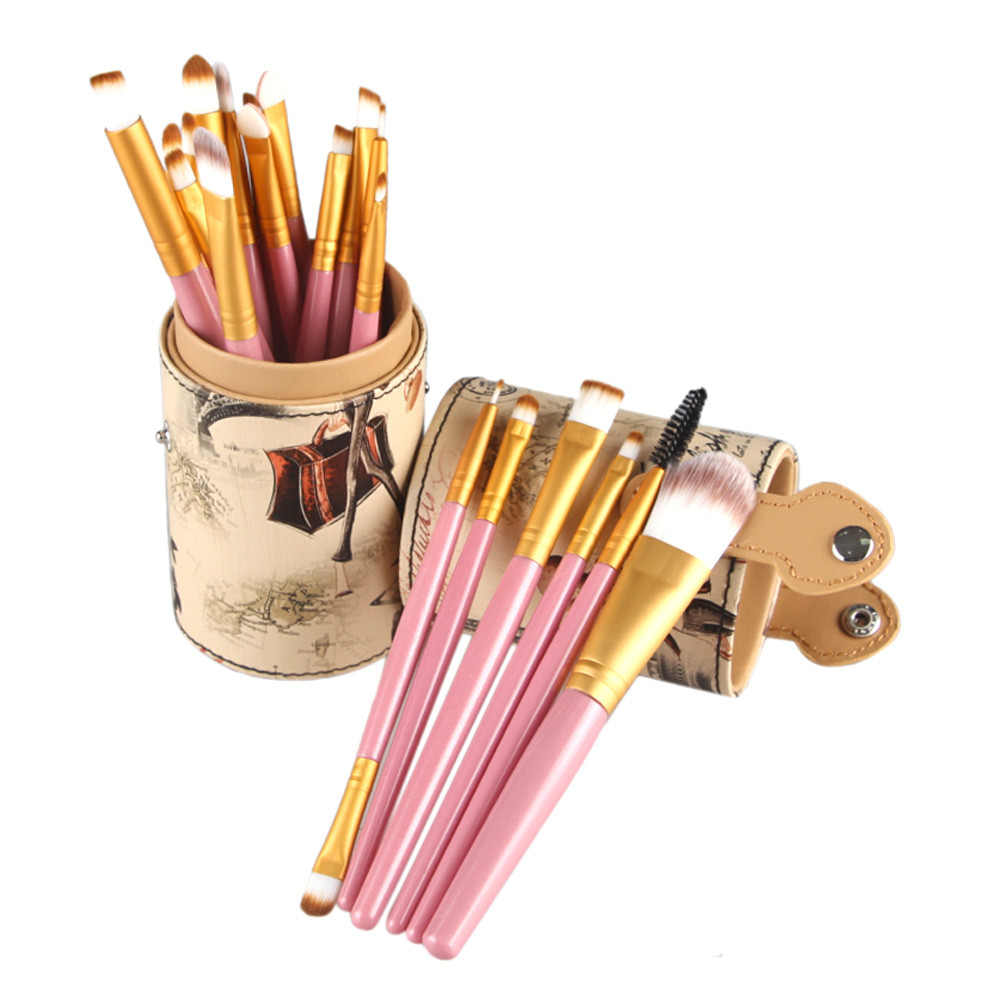 20PCS Set Makeup Brushes Leather Cup Holder Case for Brush Cosmetic Sets Powder Foundation Tool Eyeshadow