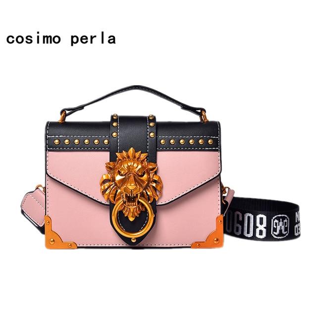 20c7bf819669 2019 Trend Women Handbags Gold Metal Lion Head Lock Small Square Shoulder  Bag Designer Color Patchwork Wide Letter Strap Purses