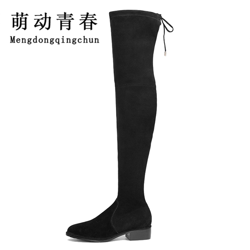 2017 New Plus Size Women Over The Knee Boots  Thigh High Boots Ladies Fashion  Warm Chunky Heel Boots Snow Shoes