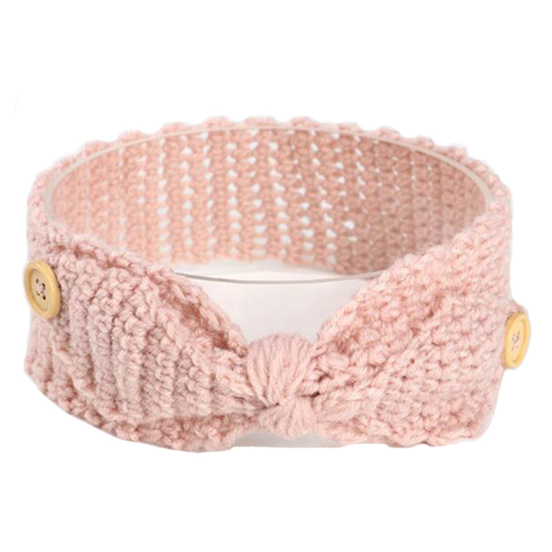 Sllioous Newborn Headband Ear Warm Turban Girls Crochet Knitted Rabbit Ear Bow Hairband Head Wrap Kids Hair Bands Accessories metting joura women girls bohemian punk vintage braided silver metal seed beads knitted flower headband hair accessories