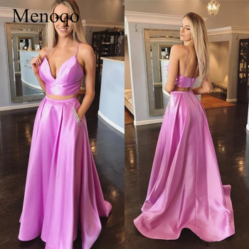 Two Piece Spaghetti Strap Satin Prom Dress Deep V Neck Backless Floor Length Beaded Formal Party Gowns With Pockets