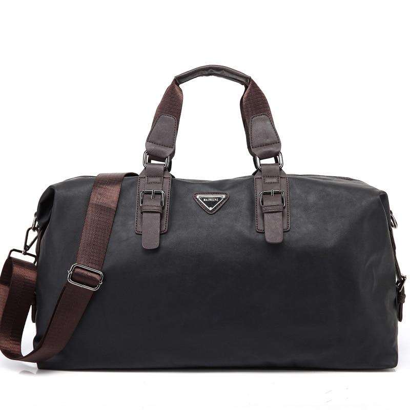 New Large Capacity Nylon Travel Bag Men Hand Luggage Travel Duffel Bag Casual  Multifunctional PU Leather Shoulder Travel Bags