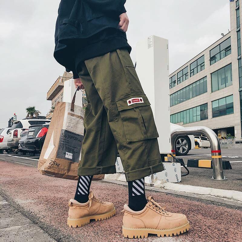 Male Loose Harajuku Harem Pants Jogger Trousers Sweatpants Fashion 2019 Hip Hop Streetwear Harem Joggers Pants With Big Pocket