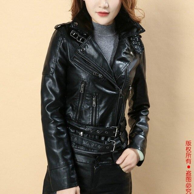 Femmes faux veste en cuir noir Biker Vestes Aviateur manteau nouveau 2018  Court moto Manteaux Femme aab319e4266f
