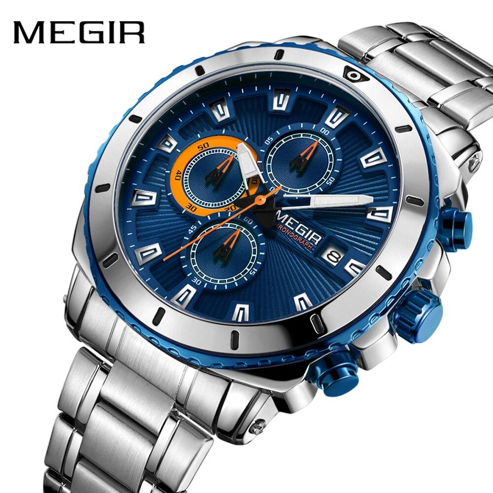 Megir Men's Stainless Steel Quartz Watches Chronograph Waterproof Luminous Clock Wristwatch For Man Relogio Masculino 2075