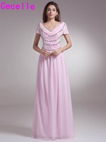 Pink Long Floor Length A Line Modest Formal Mother Of The Bride Dresses Short Sleeves Sheer