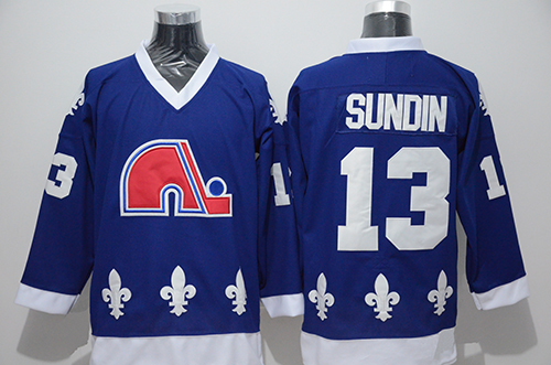 17f5494aa3d Quebec Nordiques Throwback Team 13 Mats Sundin 26 Peter Stastny Stitched  Ice Hockey Jersey