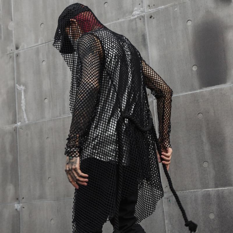 Hommes Cardigan Slim Fit décontracté maille creux ceinture à capuche Trench Coat mâle Streetwear Hip Hop Punk gothique manteau veste vêtements d'été