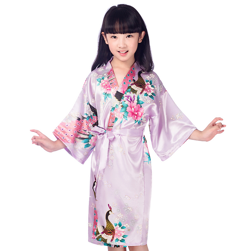 Purple Kid Satin Floral Kimono Robes Bridesmaid Flower Girl Dress Children Bathrobe Sleepwear Baby Child Home Dressing Gown