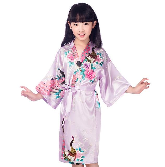 Purple Kid Satin Floral Kimono Robes Bridesmaid Flower Girl Dress Children  Bathrobe Sleepwear Baby Child Home Dressing Gown 94703fefc