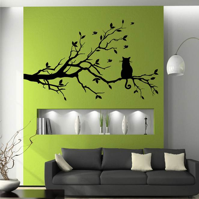 Aliexpress.com : Buy Cat On Tree Branch Birds Vinyl Wall Sticker ...