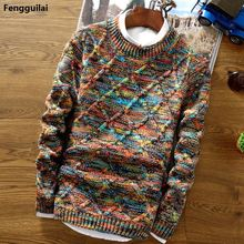 2018 New Fashion Mens Christmas Sweater Casual Slim Fit Male Clothing Long Sleeve Knitted Pullovers Winter Thick Men