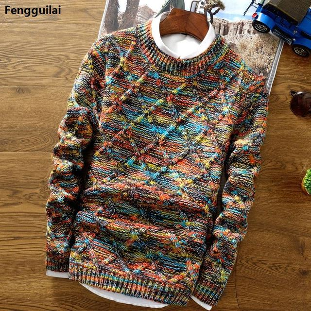 2018 New Fashion Mens Christmas Sweater Casual Slim Fit Male Clothing Long Sleeve Knitted Pullovers Winter Thick Sweater Men