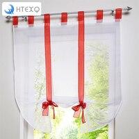 1 sztuk Śliczne Bowknot Tie-Up Roman Kurtyna-tab Tab Top Sheer Kuchnia Balon sheer top okno marki zasłony
