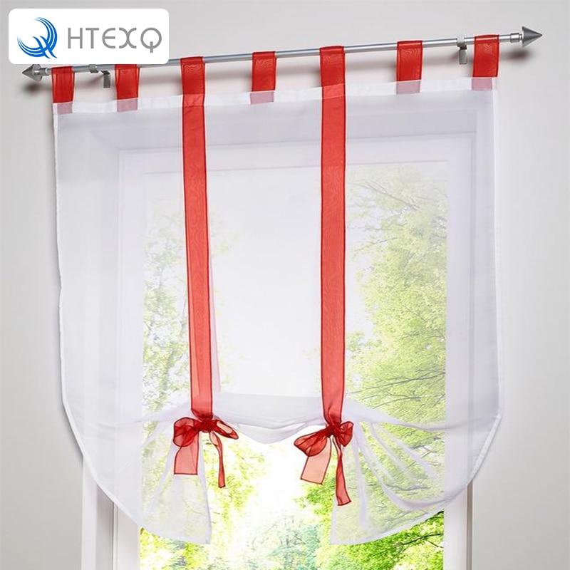 1pcs cute bowknot tieup roman curtain tab top sheer kitchen balloon sheer tab