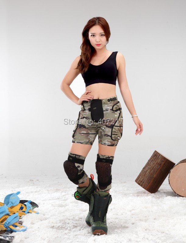 Adult gray camouflage skiing gear impact shorts hip pads womens mens snowboard skating k ...