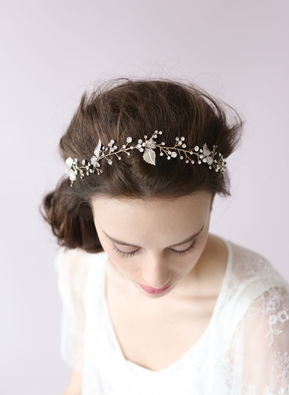 bridal headband crystal and freshwater pearl hair vine halo