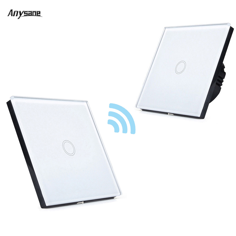 Anysane 433MHZ RF Smart Remote Control transmitter 220V Crystal Panel Touch Wall Light Switch smart home via broadlink rm-pro+ 2017 free shipping smart wall switch crystal glass panel switch us 2 gang remote control touch switch wall light switch for led