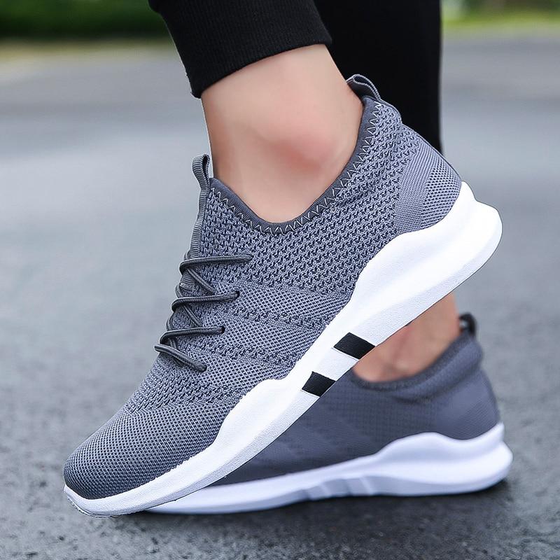 Nova Moda Outono white De Voar Casuais Mans Black black Tecido Tênis Calçado Primavera Flats Sapatos gray Respirável Para Malha Homens White qr5qxwCFp