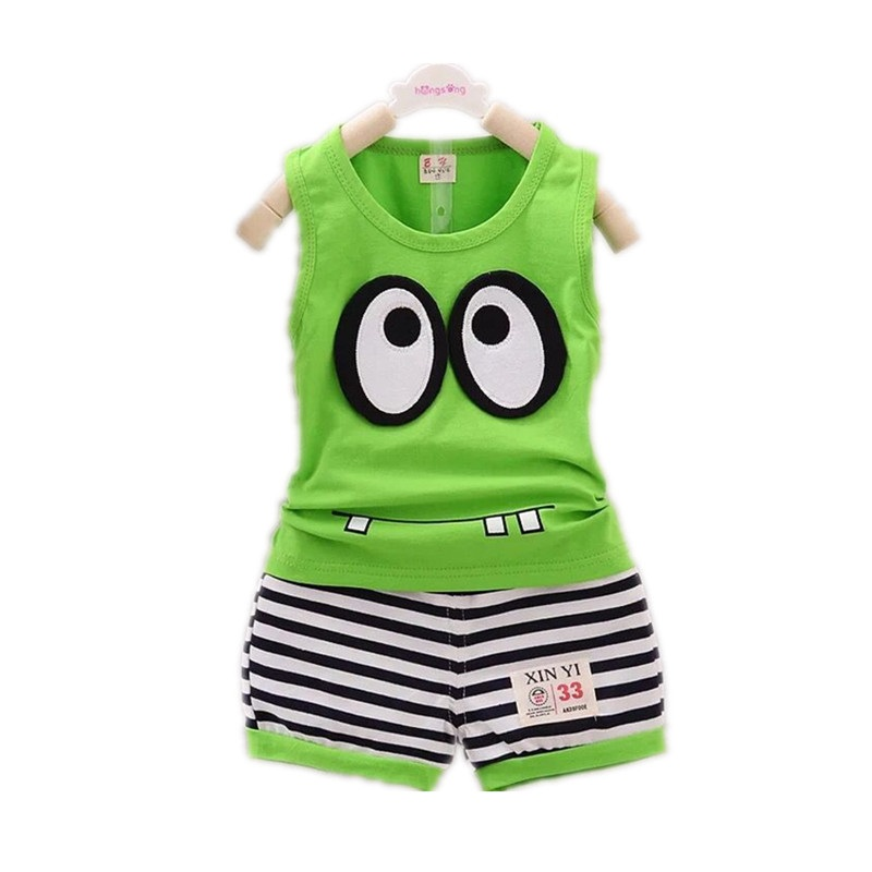 2018 Summer New Children's Vest Suit Boy With Big Eyes Cartoon Sets Boys And Girls Cotton Suit Vest+Shorts Kids Clothes Top title=