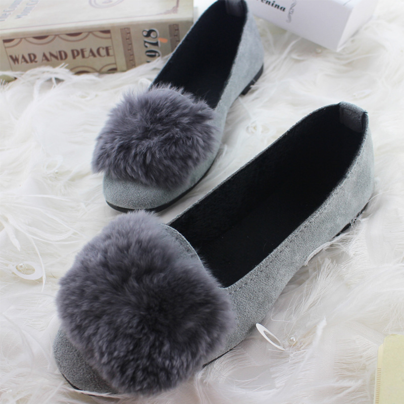 Women Flats Summer Shallow   Suede     Leather   Shoes Woman Loafers Fashion Sweet Fur Flat Casual Slip On Shoes Women Plus Size 35-42