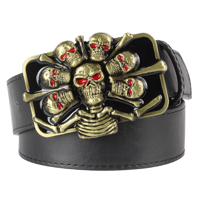Heavy Metal Cowboy Punk Belt Genuine Leather Hip Hop Belts For Men Cross Rivet Jeans Belt Male Strap Ceinture Homme PT72
